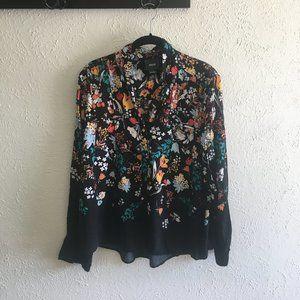 Anthropologie Maeve Black Floral Button Down Shirt